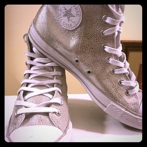 LIKE NEW silver high tops!